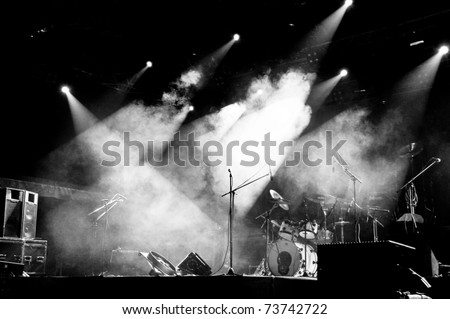 Stage in Lights - Black and White - stock photo