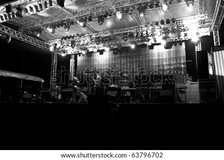 Stage in Lights DARK 2 - Black and White - stock photo