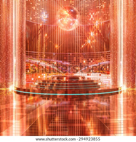 Stage in shiny background 3d rendering. - stock photo