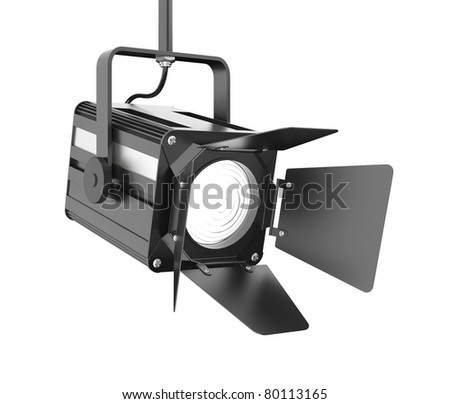 Stage light on white background. Clipping path included. Computer generated image. - stock photo