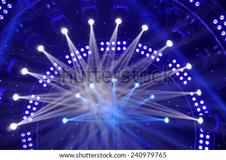 Stage lighting effect in the dark, close-up pictures  - stock photo