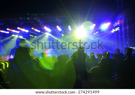 Stage lighting effect in the dark, fuzzy figure