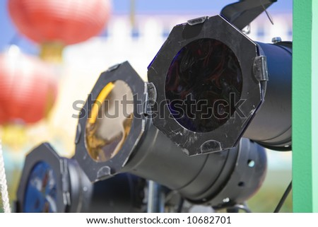 Stage lighting with gels over in a Chinatown with Chinese lanterns behind & Stage Lighting Gels Over Chinatown Chinese Stock Photo (Royalty Free ...