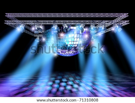 Stage lighting with professional spot lights, disco ball and truss construction - stock photo