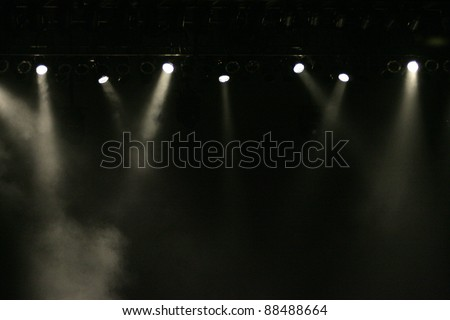 stage lights against dark background - stock photo