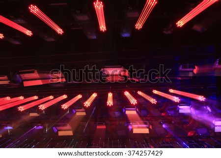 stage lights and background, radial lighting effects, closeup of photo - stock photo