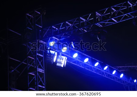stage lights and metal frame, closeup of photo - stock photo