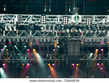 Stage lights at the concert - stock photo
