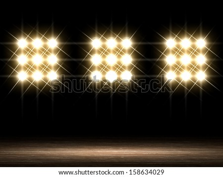 Stage Lights. Front view - stock photo