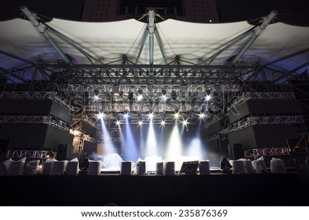 Stage Lights, light show testing before the Concert - stock photo