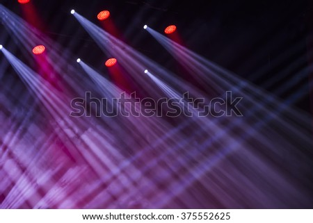 Stage lights on a console, smoke, image of stage lighting effects - stock photo