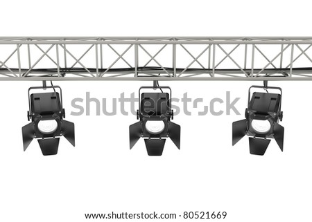 Stage lights on white background. Computer generated image. - stock photo