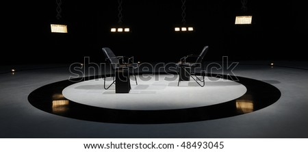 Stage lights - Studio prepared for production and shooting TV duel - stock photo