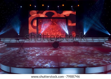 Stage lights - Studio prepared for production and shooting TV show - stock photo