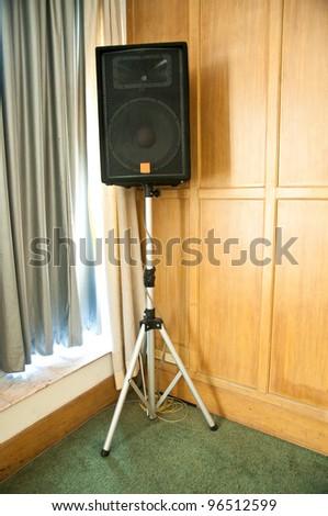 Stage loudspeaker in room of corner - stock photo