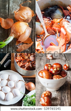 Stage of Homemade Decoration Easter eggs, boiling in an onions peels - stock photo