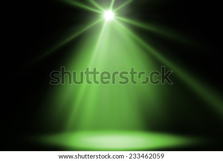 stage spot lighting background green - stock photo