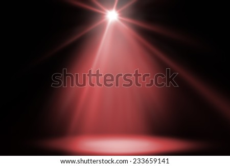 stage spot lighting background red - stock photo