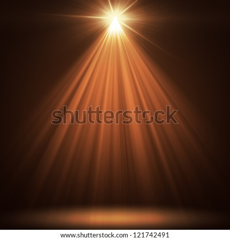 stage spot lighting over orange christmas background - stock photo