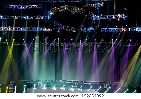 Stage Spotlight with Laser rays - stock photo