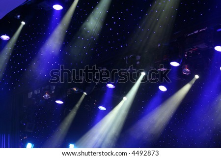 Stage spotlights - stock photo