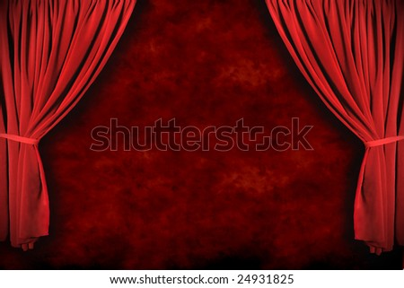 Stage Theater Drapes With Dramatic Lighting With Grunge Background - stock photo