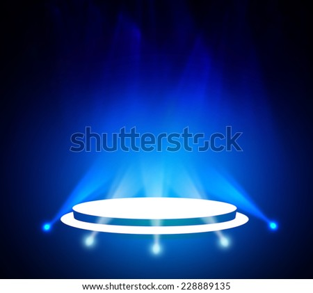 Stage theater on blue background
