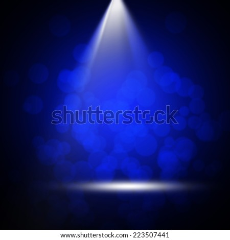 Stage theater with soft bokeh on blue background  - stock photo