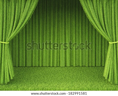 Stage with curtains made from grass - stock photo