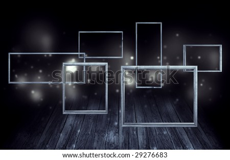 stage with flying frames - stock photo