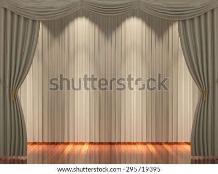 Stage with light brown curtains and spotlight. - stock photo