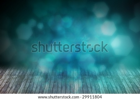 stage with mist lights - stock photo