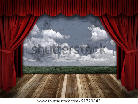 Stage With Red Velvet Theater Curtains and Sky Background - stock photo