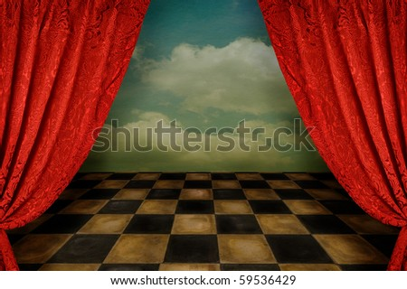 Stage with worn tile floor and curtains - stock photo