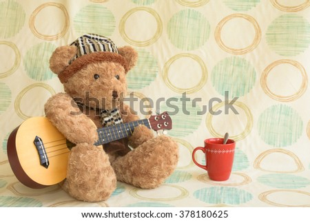 Staged relax in comfort. It's a cute funny little bear - stock photo