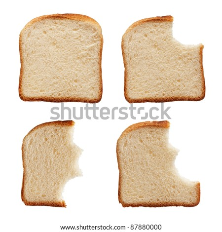 Stages in eating a slice of bread - isolated - stock photo