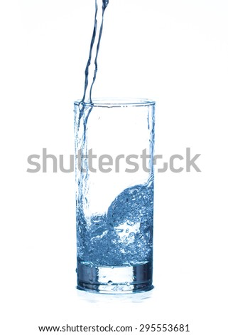 stages of pouring water into a glass isolated on white background