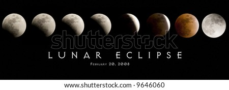 stages of the lunar eclipse from February 20, 2008. - stock photo