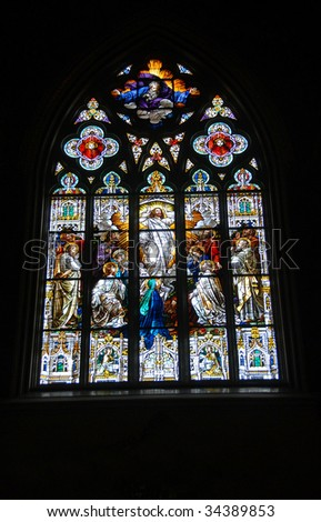 stain glass at church - stock photo
