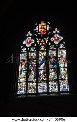 stain glass at church in ga - stock photo
