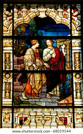stain glass window at the cathedral basilica st. augustine florida usa - stock photo