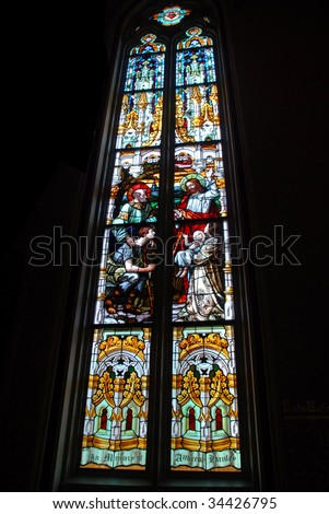 stain glass window church - stock photo
