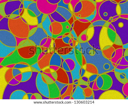 Stained Glass Abstract Background-Circles intersect on a multicolored stained glass abstract background