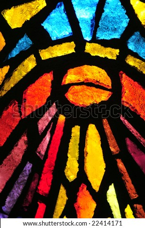 Stained glass at the church of the annunciation, Nazareth, Israel - stock photo