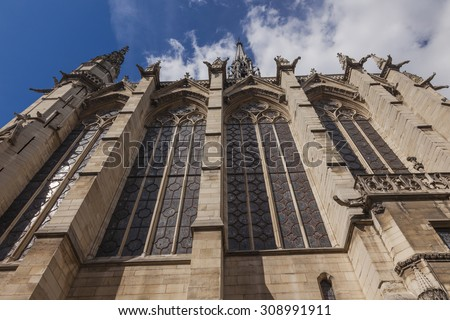 Stained Glass Cathedral Facade Saint Chapelle Paris France.  Saint King Louis 9th created Sainte Chapelle in 1248 to house Christian relics, including Christ's Crown of Thorns.  - stock photo