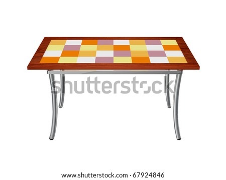 Stained Glass Check Pattern High Top Table Furniture isolated on white background. Wood metal glass modern design.
