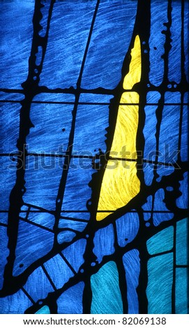 Stained glass church window - stock photo