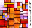 Stained glass church window in a reddish tone, square orientation - stock photo