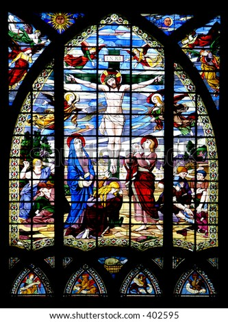 Stained Glass Church Window Jesus On Cross