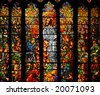 Stained glass depicting Jesus teaching - stock photo
